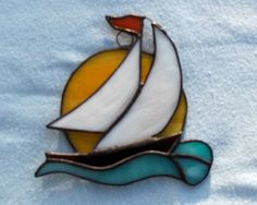 Sailboat stained glass suncatcher boat