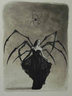 """""""Arachnia"""" collage © by Tachikaze7 @ deviantART.com (magazine cut out, graphite, acrylic wash) (2010)."""