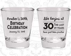30th Birthday Shot Glass, Birthday Celebration, Life begins at 30, Birthday Shot Glass, Birthday Glass (20019)