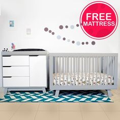 Babyletto 2 Piece Nursery Set - Hudson 3-in-1 Convertible Crib and Hudson Changer Dresser in Two Tone Grey and White FREE SHIPPING