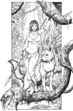 Jungle Girl by Kromespawn on DeviantArt Adult Coloring Book Pages, Colouring Pages, Coloring Books, Comic Kunst, Comic Art, Fantasy Kunst, Fantasy Art, Evvi Art, Character Art