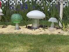 Decorate your garden with delightful mushrooms made of repurposed vintage glass.