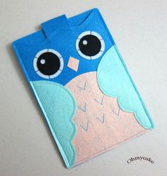 "Handmade Felt Kindle Case - Kindle 3 Cover - Kindle Fire Case - Kindle Touch Cover - Nook Case - Kindle Felt Sleeve - "" Blue Owl "" Design"
