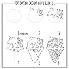 Yummy ice cream cone mini tutorial . The pink lines are drawn with pencil so you can erase them after you're done adding the details #doodle…