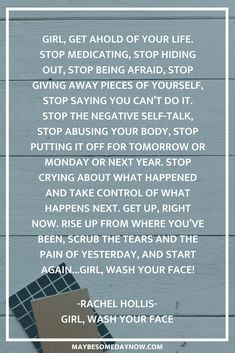 "Inspirational quotes from the popular book, ""Girl, Wash Your Face,"" by Rachel Hollis; encouraging and empowering women to believe in themselves and shut Quotes About Self Care, Self Love Quotes, Quotes To Live By, Quotes About Lying, Quotes About Self Worth, Quotes About Girls, Quotes About Confidence, Self Reflection Quotes, Rachel Hollis"
