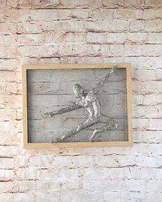 Metal wall art picture dancing man Framed art Wire by nuntchi