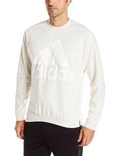 adidas Performance Mens Heavy Terry Crew Top Small White M Lange ** You can get more details by clicking on the image.