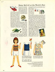 Vintage April 1964 Magazine Paper Doll of Betsy McCall at the World's Fair