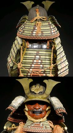 """Thirty two plate russet iron hoshi bachi, o-manju Jikoro, mabisashi supports a kuwagata dai with kuwagata, signed Bishu ju Yamato Yoshitsugu. One of the most exotic lacing patterns is omodaka odoshi, named for the water plantain, the leaves of which the pattern is said to resemble, a large triangle is built up at the center; two layers of white, then at least two more colors with the innermost color """"filling up"""" the triangle. The base color is the surrounding lacing. . Samurai Weapons, Samurai Helmet, Samurai Warrior, Chinese Armor, Ancient Armor, Samurai Artwork, Japanese Warrior, Ghost Of Tsushima, Arm Armor"""