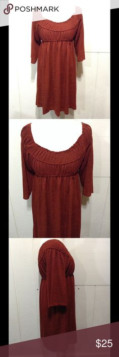 """Rustic Orange Tiana B. Dress 👗 Tiana B. brand. Size medium. Rustic orange in color. In great condition! NO issues, stains, colors, marks. Sweater material. Comfortable. Measurements......Sleeve length: 15"""". From middle of neckline to bottom hem: 29"""" Tiana B. Dresses"""