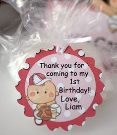 1st Birthday Boy Baseball Party Favor  GIFT TAGS by bcpaperdesigns #1stbirthday #firstbirthday #baseball #baseballparty