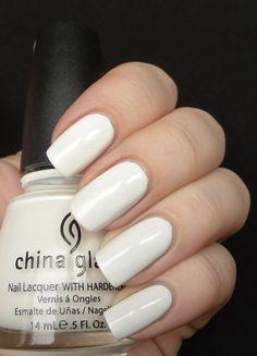 China glaze- White on white Nails Nail Polish Style, White Nail Polish, Nail Polish Designs, White Nails, Fancy Nails, Love Nails, Pretty Nails, Classy Nail Art, Cool Nail Art