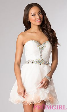 Short Strapless Sweetheart Dress by Hannah S at PromGirl.com
