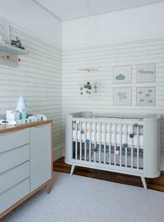 Mint and pale blue baby room inspiration.