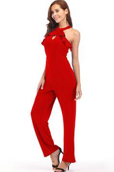 Hualong Sexy Sleeveless Zipper Back Red Ladies Petite Jumpsuits