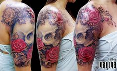 not a big fan of skull tattoos but this is beautiful especially loving ...