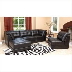 Abbyson Living Donovan 5 Piece Modular Leather Sectional in Black  sc 1 st  Pinterest : gavin leather sectional - Sectionals, Sofas & Couches