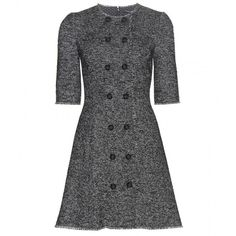 Dolce & Gabbana Wool-Blend Dress (2,600 CAD) ❤ liked on Polyvore featuring dresses, grey, dolce gabbana dresses, grey dress, gray dress and dolce&gabbana