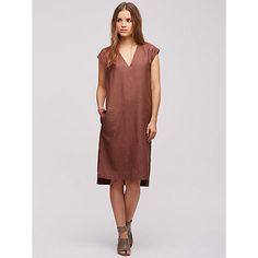 Buy Jigsaw Linen V-Neck Dress, Earth Online at johnlewis.com