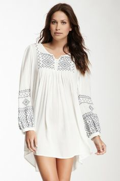 Monoreno Embroidered Long Sleeve Woven Tunic Dress by Assorted on @HauteLook