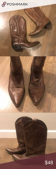 "Seychelles Brown Leather Cowboy Boots Seychelles Brown Leather Cowboy Boots Size 7.5. Signs of wear, but just adds to the character in my opinion. 13"" from top of boot to bottom of heel. Seychelles Shoes Heeled Boots"