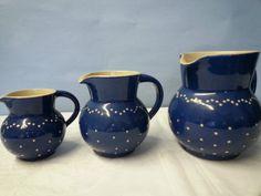 Bürgel Keramik blau weiss handgetöpfert 3 Krüge versch. Grössen Handarbeit Deko