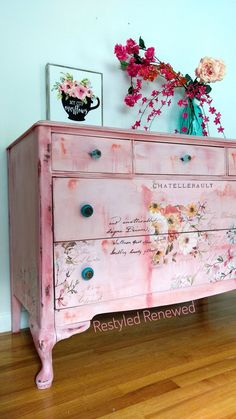 SOLD. Blended layered technique. I will be releasing a tutorial soon on this technique. Follow me on facebook, Instagram or subscribe to the website. Boho dresser. Pink dresser. Bohemian dresser. Creative furniture. Art on furniture. I sell the transfers too on my website. Prima Redesign transfer.
