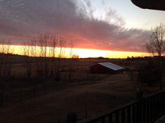 Late fall sunset from the deck overlooking the barn
