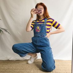 a084bb99cee7 Adorable light wash denim long vintage dungarees💛💜 with a - Depop  Dungarees Outfits,