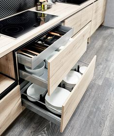- Wardrobe Organization - Cuisine CLARA - Ixina La chaleur du bois et des rangements optimisés. Kitchen CLARA - Ixina The warmth of wood and optimized storage. Modern Kitchen Interiors, Modern Kitchen Cabinets, Modern Kitchen Design, Interior Design Kitchen, Kitchen Drawers, Kitchen Pantry Design, Diy Kitchen Storage, Home Decor Kitchen, Ikea Kitchen Organization