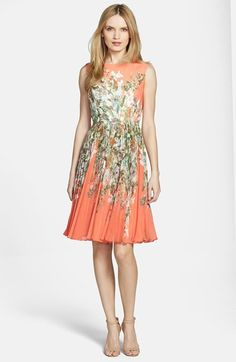 Adrianna Papell Print Chiffon Fit & Flare Dress | Nordstrom