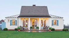 The Genteel Cottage - Charming Home Exteriors - Southern Living - A couple from Connecticut moved down South with the plans to develop land in Virginia's horsecountry. With a plan that would take years to complete, they decided to start with a guest house to provide lodging while the main house and stables werebuilt.The straightforward floor plan can be seen in the cottage's simple exterior.  See more of this Virginia Cottage