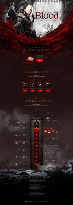 Promotion_Blood on Behance Website Design Layout, Web Layout, Website Design Inspiration, Layout Design, Design Sites, Page Design, Gaming Banner, Presentation Layout, Promotional Design