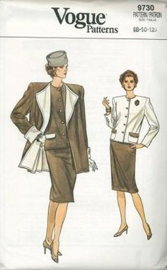 An unused original ca. 1986 Vogue pattern 9730.  Misses' Coat, Jacket & Skirt. Very loose fitting, A-line, lined (contrast fabric) coat has extended shoulders, shoulder pads and long sleeves with cuffs. Very loose-fitting, unlined, above hip jacket has extended shoulders, shoulder pads, pocket with contrast flaps and long two-piece effect sleeves with button trim. Straight skirt, below mid-knee, has waistband, back zipper and hemline vent.