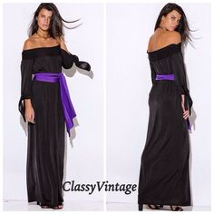 Just  Arrived Elegant off the shoulder maxi. This elegant and timeless off the shoulder maxi features smocked neckline , bow tie sleeves, and comes with a contrasting extra long sash. Stretchy 95% polyester and 5% Spandex. MADE IN USA. This runs true to size. Boutique Dresses Maxi