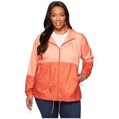 Columbia Plus Size Flash Forward Windbreaker (Lychee/Coral) Women's... ($50) ❤ liked on Polyvore featuring plus size women's fashion, plus size clothing, plus size activewear, plus size activewear jackets, columbia sportswear, plus size sportswear, womens plus size activewear and columbia activewear