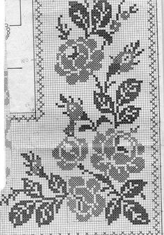 Schema, final, Tischdecke, Häkeln, Filet - Diagramas e Motivos Cross Stitch Borders, Cross Stitch Rose, Cross Stitch Flowers, Cross Stitching, Cross Stitch Embroidery, Hand Embroidery, Cross Stitch Patterns, Filet Crochet, Crochet Stitches Chart
