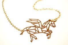 ♥ Zarte EINHORN Geometrie Origami Kette vergold. von ♥ Karamboola Noir ♥ auf DaWanda.com