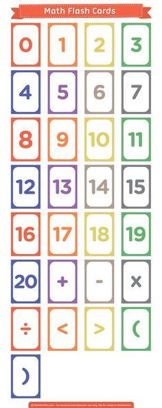 Create your own math problems with these free printable math flash cards. The cards include numbers 0 to 20 and basic math symbols. Download them in PDF format at http://flashcardfox.com/download/math-flash-cards/