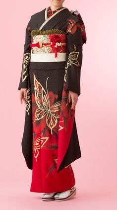 Butterfly red black kimono