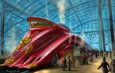 dieselpunk | Dieselpunk Spaceship Dieselpunk train by hanamity