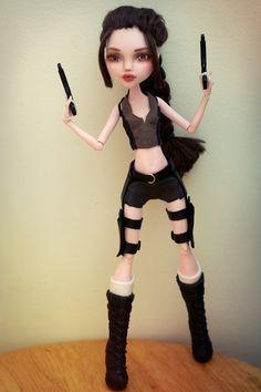 Monster High custom OOAK Customized doll Lara Croft Tomb Raider