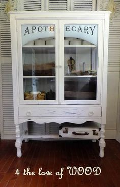 Antique Apothecary Cabinet Makeover - by 4 the love of WOOD Paint Furniture, Furniture Making, Furniture Makeover, Shaker Furniture, Furniture Market, Furniture Removal, Furniture Movers, Garden Furniture, Office Furniture
