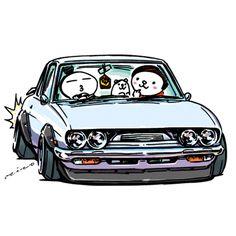 "car illustration ""crazy car art"" jdm japanese old school ""117COUPE"" original characters ""mame mame rock"" / © ozizo ""ROCK'N ROLL"" Line theme ""Crazy Car Art"" Line themes ""Crazy Car Art"" Line stickers ""Crazy car Art"" Telegram stickers"