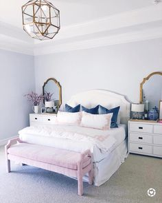 Get inspired by Posh & Luxe Bedroom Design photo by Joss & Main. Joss & Main lets you find the designer products in the photo and get ideas from thousands of other Posh & Luxe Bedroom Design photos. Preppy Bedroom, Glam Bedroom, Room Ideas Bedroom, Home Decor Bedroom, Girls Bedroom, Master Bedroom Chandelier, Feminine Bedroom, Light Master Bedroom, Bright Bedroom Ideas
