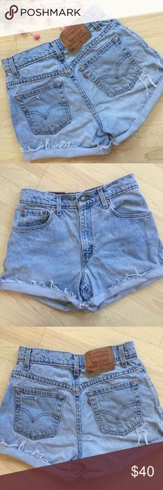 """Vintage Levi high waisted distressed denim shorts Cute Vintage Levi shorts! They are cut offs and look cute cuffed. Since these are vintage sizing please check measurements to ensure fit. ~10.5"""" rise, 27"""" waist, 38"""" hip, 4"""" inseam (when not cuffed) and 22"""" leg opening. There is 3 tiny spots on the left back pocket. Hardly visible, but wanted to disclose. Levi's Shorts Jean Shorts"""