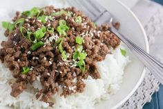 Quick and Easy Korean Beef on rice- Low FODMAP!