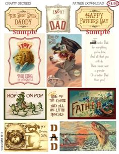 Father Digital Download in Crafty Secrets Online Store includes a fun mix of 12 images and words for Dad's birthday, Father's Day cards, layouts, mini albums and keepsakes.