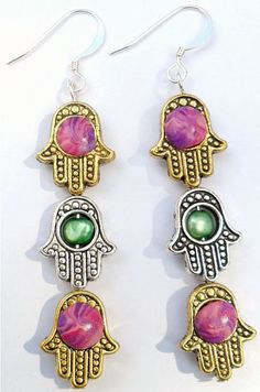 Hamsa Hand Earrings w/ Polymer Clay And Freshwater Pearl Middles by CrashsCuriosities