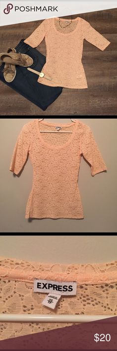 EXPRESS LACE TOP Baby pink lace quarter length TOP Express Tops